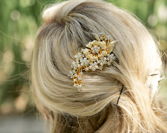 Gold Crystal Hair Comb, Rhinestone Bridal Hair comb Vintage Hair Brooch Wedding Jewel Comb Classic Wedding Hair Accessories - Ready to Ship
