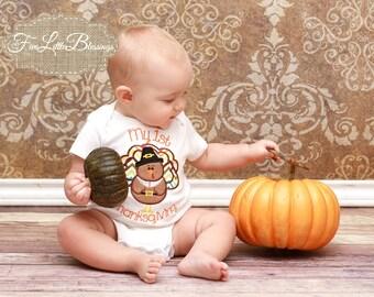 First Thanksgiving - Thanksgiving - Turkey Day - fall - pumpkin - gobble - boy Thanksgiving