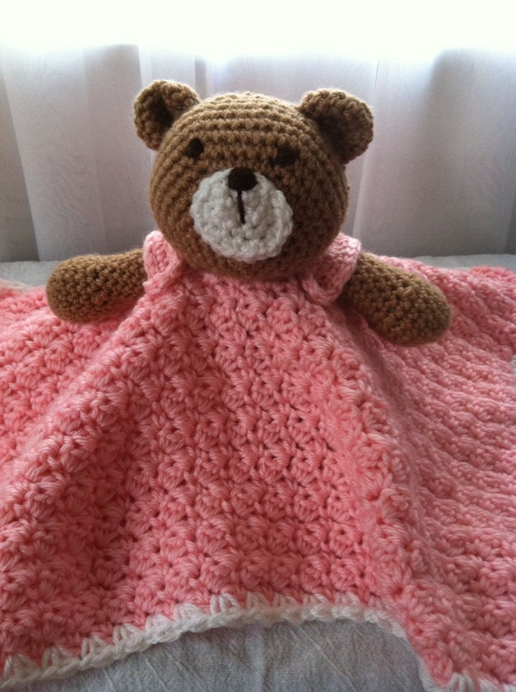 Free Crochet Patterns Teddy Bear Blanket : Items similar to Pink Crochet Teddy Bear Lovey Security ...