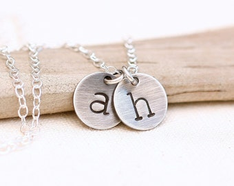 Initial Necklace, Personalized Monogram Necklace, Custom Mother's Jewelry, Gift for Women Hand Stamped Letter Necklace, 2 initials