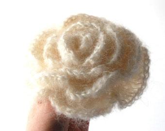 Fabric Brooch, Crochet Flower, Crochet Brooch, Flower Brooch, Creamy Crochet Flower Brooch