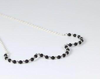 Swarovski Pearl Scalloped Necklace Black and Silver Chain Geometric Bib