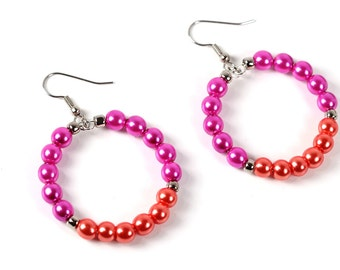 Hot Pink and Orange Pearl Hoop Earrings