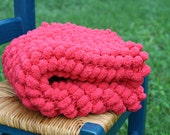 Pom Pom Blanket Photo Prop Red Christmas Holiday Newborn Photo Prop Floor Mat Basket Filler Ready to Ship