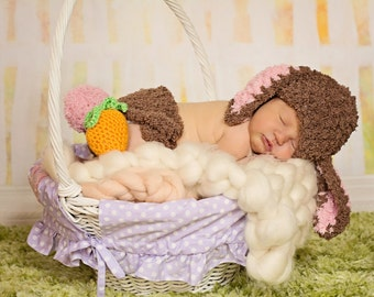 Bunny Rabbit Hat and Diaper Cover Set Crochet with Amigurumi Carrot Newborn Photo Prop Pink Chocolate Brown Coffee Baby Girl Easter Photos
