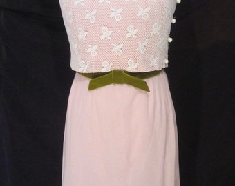 Vintage 1960s Wiggle Dress 2 Piece Set Pink & White Lace by Gay Gibson-Small