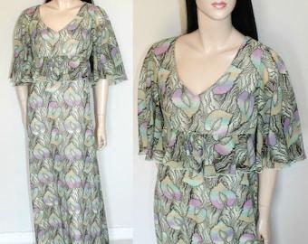 Vintage 70s Psychedelic Print Angel-sleeve Maxi Dress / Boho / Hippie / Festival / Elegant / Quirky / UK14 / Medium