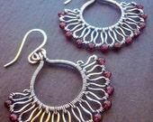 Burgundy earrings - Garnet earrings - Art Nouveau - wire wrapped jewelry - sterling silver - wire wrap earrings - January birthday gift