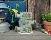 3 Vintage Shallow Gray Flower Ceramic Soup Mugs Set