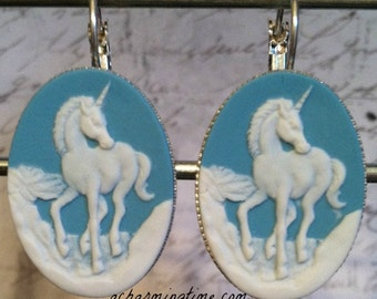 Earrings with a White Unicorn on a Blue Colored Cameo on Lever Back Hooks