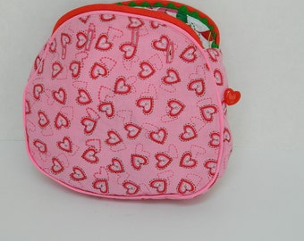 Childs' Size Bermuda Bag Cover - Girls' Purse Cover - Button On Purse Cover - Christmas Bermuda Bag - Pink Hearts - Retro Style  Bag - Girls