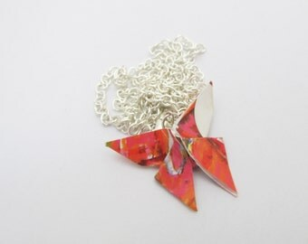 Fiery Handmade Origami Paper Butterfly Necklace- Reds, Oranges, Whites