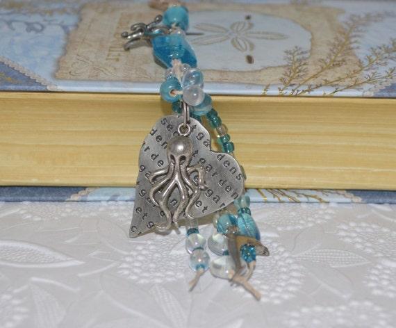 Octopus' Secret Garden Heart Beaded KeyChain or Purse Jewelry OOAK