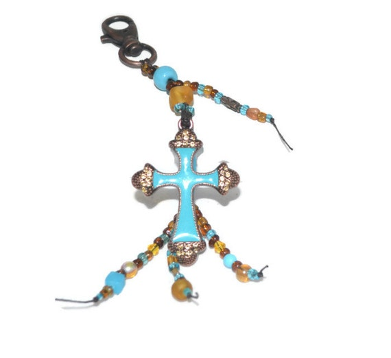 SALE Turquoise Blue and Copper Cross Beaded Keychain Unique Gifts Easter Gifts for her under 20