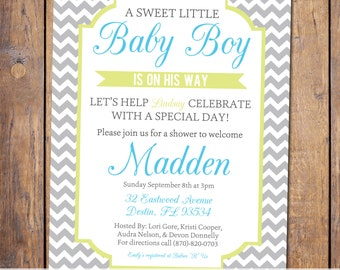 Chevron Boys Baby Shower Invitation, modern baby shower invites, baby shower invitations, grey blue and green, digital, printable (item137a)