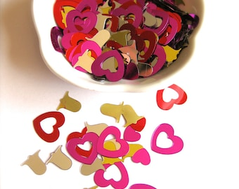 SALE! Metallic Holiday Hearts and Bells Confetti-Red, Hot Pink, Silver & Gold-Party Favors-Summer Wedding-Bridal Shower Decor-Love-Gift Bags