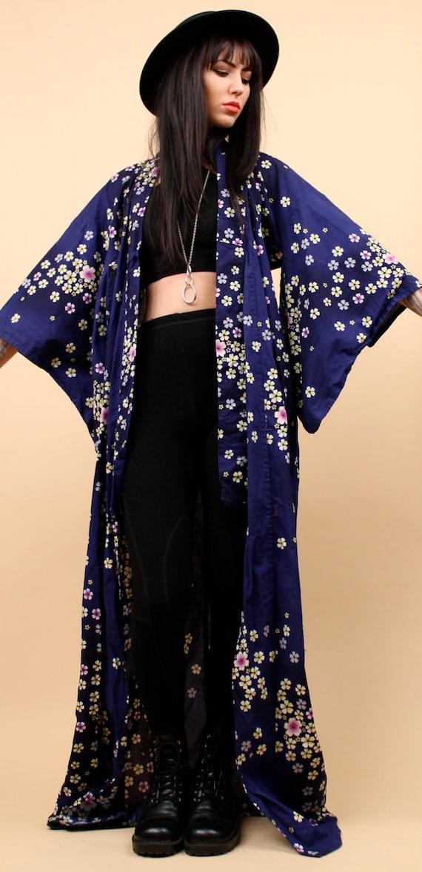 70s Vtg Cotton Kimono Duster Jacket Floor Length Floral Navy