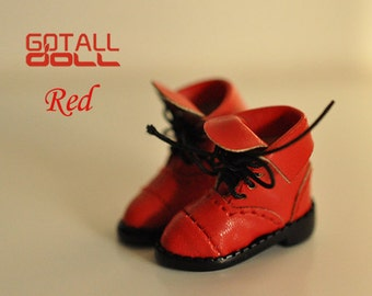 20% OFF - GOTALL doll handmade Revers Short Boots for Blythe doll - doll shoes - Red