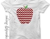 Iron on Apple Shirt PDF - Teacher Iron on Transfer / Girls Apple Chevron T-shirt / Kids Red Chevron DIY / First Day of School Outfit IT359-R