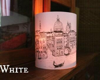 LARGE Venice Illuminated Paper lantern Originally Hand Drawn - just add candle