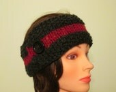 Chunky Charcoal Gray Headband with Wine band