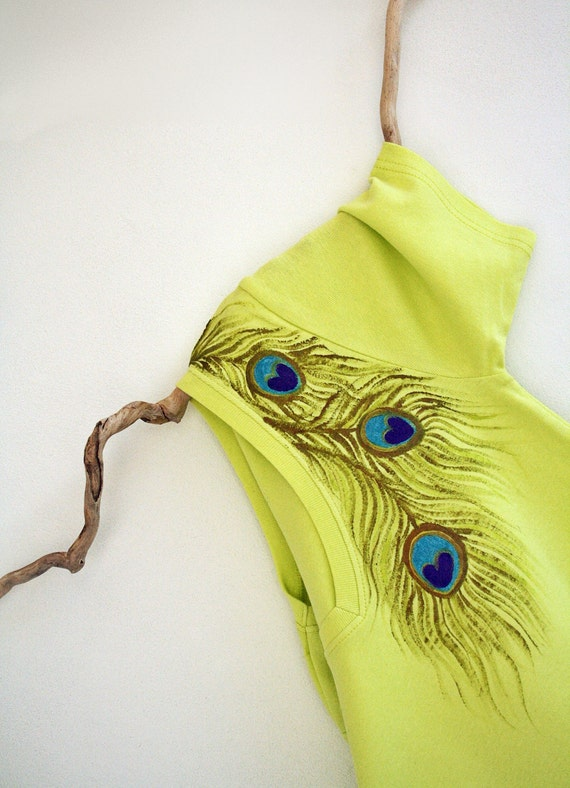 Neon Women Tshirt Hand Painted Peacock Feather Design Size M to L