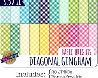 Digital Scrapbook Paper - Ginham Pattern - Checkered Digital Paper - Commercial use ok, US Letter 8.5x11, 8.5 x 11 bright colors
