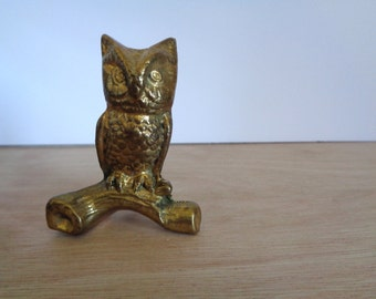 Vintage Solid Brass Owl Figurine Perched on Branch