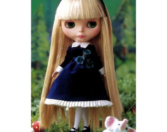 Blythe Classic Long Sleeves Velvet Dress Pattern and Socks PDF English templates names,Sewing key included