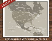 FRAMED US Pin map, 24x36 inches, World Travel, Honeymoon, Vacation Art, Travel Map, Pins and Map
