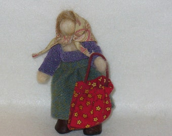 Cute Handmade Needle Felt Doll Waldorf Style collectible peasant doll Felted