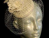 Wedding Fascinator, Bridal Fascinator with Birdcage Veil, Ivory, Bridal Hairpeice, Vintage Fascinator
