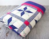 Vintage Retro Handmade Fabric Star Flowered Quilt Blanket