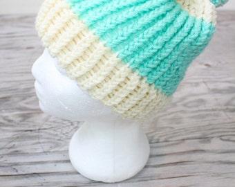SALE Vintage Retro Mint Snow Beanie Hat