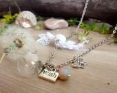 Dandelion wish necklace, dandelion globe pendant, terrarium necklace, make a wish necklace, freedom boho jewelry lucky charm, gift for bride