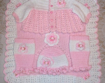 Crochet Baby Girl Sweater Set Layette With Flower Ruffle Hat,Legwarmers and Blanket Perfect for Baby Shower Gift or Take Home Outfit