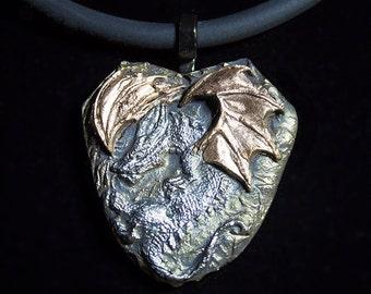 Copper Winged White Bronze Dragon Necklace