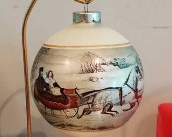Vintage Currier and Ives Glass Ornament The Road 1973 with Original Box FREE SHIPPIING with an order  of 3 or more Christmas item listings!