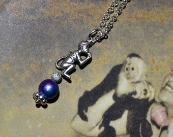 Monkey Necklace, Circus Monkey, Quirky Jewelry, Purple Bead Necklace, Metal Monkey Charm, Performing Monkey, Tiny Monkey, Circus Style