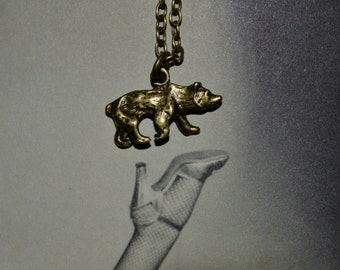 Bear Necklace, Grizzly Pendant, Bronze Bear Charm, Small Bear Pendant, Grizzly Bear Charm, Animal Jewelry, Simple Necklace, Everyday Jewelry