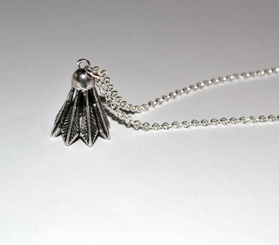 Shuttlecock Necklace, Badminton Jewelry, Silver Shuttlecock, Sports Necklace, Shuttlecock Charm, Badminton Necklace, Quirky Sports Jewelry