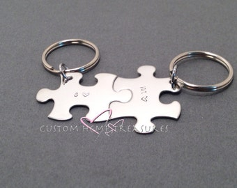 Personalized boyfriend Gift, Couples Keychain, Couples Initials Keychain, Fiance Gift, Puzzle KeyChain, valentines gift, girlfriend gift