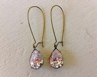 Clear Crystal Earrings/Swarovski Crystal Earrings/Bridal Party Earrings/Long Earrings/ Romantic Wedding Earrings/Bridesmaid Earrings