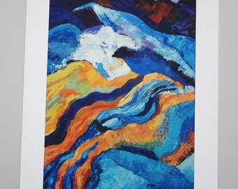 Blue Orange White Abstract Giclee Print of Painting