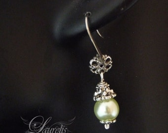Gothic Victorian Earrings -sparkly  metal  light green  vampire romantic flower yellow wedding earrings