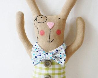 grandad bunny rabbit doll with check waistcoat an spotty bow-tie