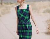 vintage plaid tartan pinafore green navy maxi dress