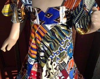 Vintage Handmade African Colorful Patchwork Print Girls Dress PRICE REDUCTION!!!