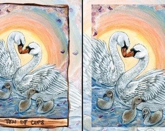 Mute Swan Print,  Ten of Cups Tarot Card, Sunset Picture, Animal Illustration, Wall Decor, Animism Tarot Deck, Baby Bird