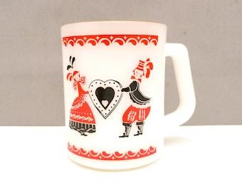 Federal Milk Glass Mug, D Handle Mug